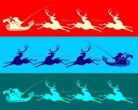 Santa Claus i släde med renen stock illustrationer