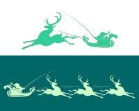 Santa Claus i släde med renen royaltyfri illustrationer