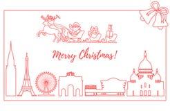 Santa Claus i släde som flyger över byggnader stock illustrationer