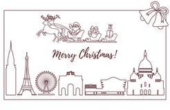 Santa Claus i släde som flyger över byggnader royaltyfri illustrationer