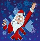 Santa Claus i snöflinga vektor illustrationer