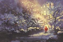 Santa Claus i snöig vintergränd i parkera med julljus på träd stock illustrationer