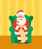 Santa Claus i stygga chairreads eller trevlig lista stock illustrationer