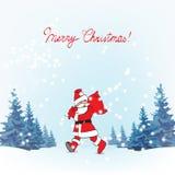 Santa Claus i träna, hälsningen, träd som sover, övervintrar stock illustrationer