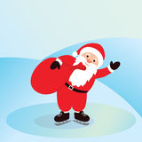 Santa Claus on ice skates with bag. Christmas elements Useful For Your holidays Design Stock Image