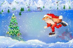 Santa Claus on ice skates with bag stock photography