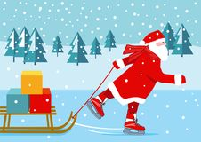 Santa Claus Ice Skating With Presents Royalty Free Stock Images