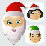 Santa Claus icon bead and Mrs.  assistants-elves are team happy Christmas Royalty Free Stock Image