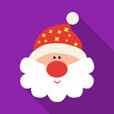 Santa Claus icon in flat style isolated on white background. Christmas Day symbol stock vector illustration. Royalty Free Stock Photo
