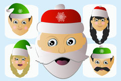Santa Claus icon head natural and his assistants a few people Stock Photo