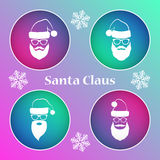 Santa Claus icon set. Christmas elements for your festive design. Vector illustration Stock Photography
