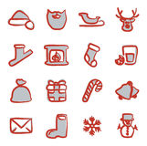 Santa Claus Icons Freehand 2 Color Royalty Free Stock Images