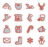 Santa Claus Icons Freehand 2 färg Royaltyfria Bilder