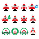 Santa Claus icons, Merry Christmas icon labels. Vector icons set of happy Santa isolated on white Stock Images