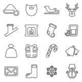 Santa Claus Icons Thin Line Vector-Illustrations-Satz Lizenzfreie Stockfotografie