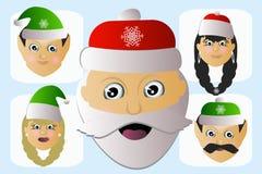Santa Claus-Ikonenkopf natürlich und seine Assistenten einige Leute Stockfoto