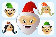 Santa Claus-Ikonenkopfeigenwilliges exzentrischsonderbares seine Assistenten einige Leute Stockfotos