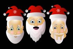 Santa Claus-Ikonenvektor einfaches einfaches editable auf einem weißen Hintergrund zusammen in Troja-Schwarzem Lizenzfreie Stockfotos