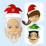Santa Claus-Ikonenvektor und phänomenales exotisches extravagantes MIS-Elfe auf einem weißen Hintergrund, zum sich leicht zu tren Lizenzfreie Stockbilder