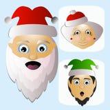 Santa Claus-Ikonenvektor und schwieriges unkonventionelles Gebiet MIS-Elfe auf einem weißen Hintergrund, zum sich leicht zu trenn Stockfotos