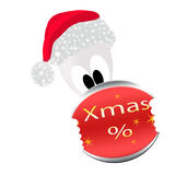 Santa Claus Illustration. Illustration of Santa Claus holding a percentage sign Stock Photo