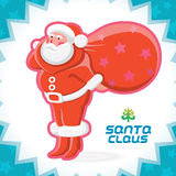 Santa Claus Illustration. Glossy Santa Claus Merry Christmas, New Year Icon, Button, Sign, Symbol, Logo Vector Illustration