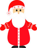 Santa Claus Illustration. Isolated Santa Claus Illustration with red hat, red mittens and red coat with snowflakes, man, person, Christmas Stock Photos