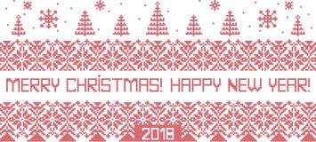 Santa Claus, illustrazione di vettore del punto croce di Natale royalty illustrazione gratis