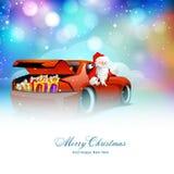 Santa Claus im Auto für Weihnachten und neues Jahr stock abbildung