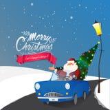 Santa Claus im Auto für Weihnachtsfeier stock abbildung