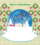 Santa Claus In A Glass Ball , Retro Christmas Card Royalty Free Stock Images