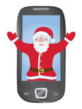 Santa Claus inside mobile phone Stock Photography