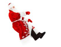 Santa claus on invisible car. Santa claus is driving his invisible car, isolated on white Royalty Free Stock Images