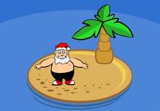 Santa claus on island. On holidays Royalty Free Stock Photo