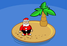 Santa claus on island. On holidays Royalty Free Stock Images