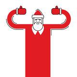 Santa Claus isolated. Granddad in red suit and white beard.  Stock Image
