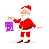 Santa Claus isolated on white background. Flat funny old man character holding Xmas gift. Christmas decoration for sale Royalty Free Stock Images