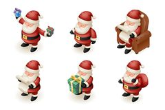 Santa Claus Isometric 3d Read Gift List Sit Armchair Character Sit Armchair Giftbag Icon Holiday Fireplace Background. Santa Claus Isometric 3d Read Gift List Stock Photography