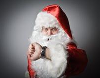 Santa Claus ist spät Stockbild