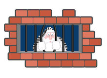 Santa Claus Jail Finestra in prigione con le barre Cattivo criminale di Santa Fotografia Stock
