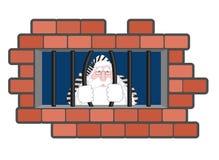 Santa Claus Jail Ventana en la prisión con las barras Mún criminal de Papá Noel libre illustration
