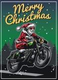 Santa Claus jeździecki motocykl w bożego narodzenia kartka z pozdrowieniami projekcie ilustracja wektor