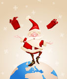 Santa Claus Joyful with gifts Stock Photo