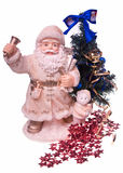 Santa claus. Photo santa claus and медвеженок from plastic, metal stars and a New Year's artificial fur-tree stock image