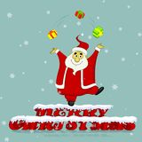 Santa Claus juggling with Christmas gifts Royalty Free Stock Photo
