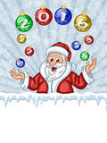 Santa Claus juggling Christmas Tree decorations Stock Photography