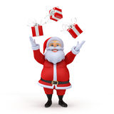 Santa claus juggling with presents Royalty Free Stock Image