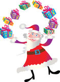 Santa Claus juggling presents. Cartoon Santa Claus juggling presents wrapped with ribbons Royalty Free Stock Image