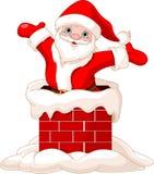 Santa Claus jumping from chimney. Happy Santa Claus jumping from chimney Stock Photo