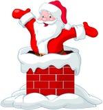 Santa Claus jumping from chimney. Happy Santa Claus jumping from chimney Royalty Free Stock Photo